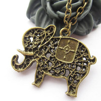 necklace---antique bronze hollow-out elephant,alloy necklace