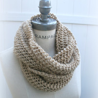 Chunky Infinity Scarf Chunky Beige Scarf Hand Knit Women Scarves Winter Knitting Neckwarmer- By PIYOYO