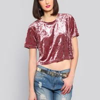 CRUSHED CROP TOP - PINK