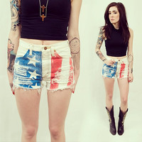 Acid Washed Distressed American Flag Patriotic Shorts