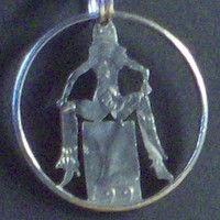 Girl Seated Hand Cut Coin Jewelry