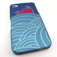 ADORABLE BLUE PINK WHALE HARD CASE COVER FOR APPLE IPHONE 4 4S PHONE ACCESSORY