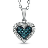 1/7 CT. T.W. Enhanced Blue and White Diamond Frame Heart Pendant in Sterling Silver
