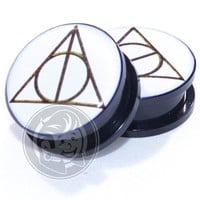 Acrylic Threaded Deathly Hallows Plugs
