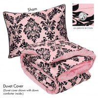 Wake Up Frankie - He Baroque My Heart Set (Flocked Damask) - Soft Pink : Teen Bedding, Pink Bedding, Dorm Bedding, Teen Comforters