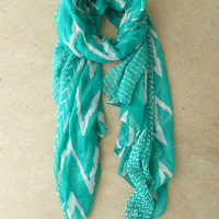 Wavy Lines Scarf in Teal [3940] - $14.00 : Vintage Inspired Clothing & Affordable Dresses, deloom | Modern. Vintage. Crafted.