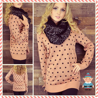 Love Street Pink Polkadot Sweater