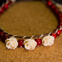 Red beaded wrapped leather bracelet with roses