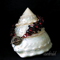 Beaded Ladder Byzantine Chainmail Bracelet, One of a Kind Black and Red Chainmaille Bracelet