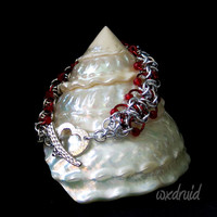 Beaded Ladder Byzantine Chainmail Bracelet, One of a Kind Silver and Red Chainmaille Bracelet