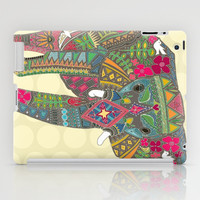painted elephant straw spot iPad Case by Sharon Turner
