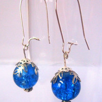 Silver and Blue Ice Crackle Glass Earrings