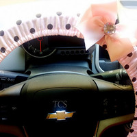 Pink and Brown Polka Dot Steering Wheel Cover