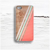 iPhone 5 Case Wood Print, iPhone 5s Case Chevron, iPhone 4 Case, iPhone 4s Case, Geometric iPhone Case, Coral Chevron iPhone Cover T48