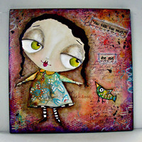 You Talk Too Much - Big Eyed Girl - Mixed Media Art Original Painting by Deborah Jackson Hall