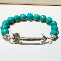 "Blue Turquoise Arrow Head Silver Link Beaded Elastic Bracelet, Fits up to 8.0"" Gift Under 25 Christmas Gift"