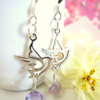 Sterling silver dove pink amethyst dangle earrings,Christmas silver love bird earrings, turtledove Christmas earrings