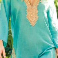 South Beach Swimsuits - zz - Hermanny by Vix Solid Sahara Tunic HY1HK55 in Dark Turquoise
