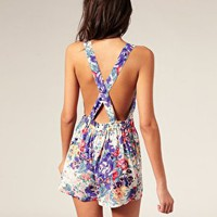 ASOS | ASOS Floral Cross Front Playsuit at ASOS