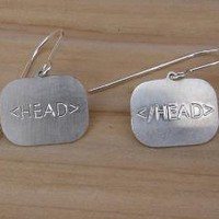 HTML HEAD Sterling Silver Earrings by nicholasandfelice on Etsy