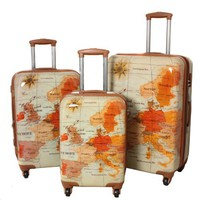 "World Traveler ""The Euro"" 3-Piece Spinner Hardside Printed Luggage Set"