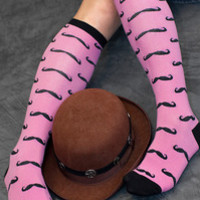 Socks by Sock Dreams » .Socks » Novelty Socks » Mustache Knee Highs Knee High