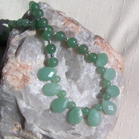 "Green Aventurine Crystal Gemstone Necklace - ""Iced Mint"""
