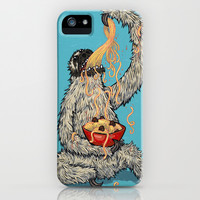 Three Toed Sloth Eating Spaghetti From a Bowl iPhone & iPod Case by Joe Havasy