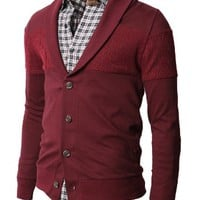 H2H Mens Basic Cardigan with Shawl Collar