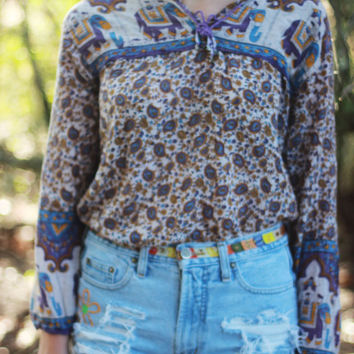 Tribal Elephant Print Top Paisley Print Tumblr Hipster