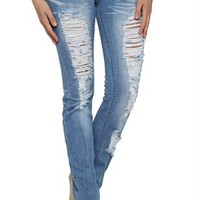 Light Wash Machine Skinny Jean with Destruction Details