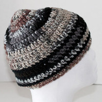 His or Her - Crochet Skull Cap or Beanie- Black, Grey, Brown