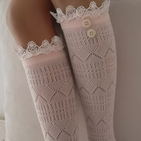 Light Pink lace boot socks leg warmers lace boot socks with button girly boot socks boot cuffs birthday gifts knee socks lace socks