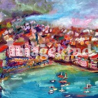 """Vernazza Panoramic Oil Painting by Ginette"" by Ginette Callaway"