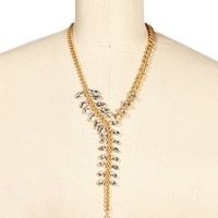 Rhinestone Gold Leaf Necklace