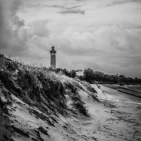 Dunes and Lighthouse Art Print by JAY'S PICTURES
