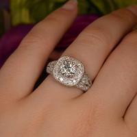 One Carat Diamond Engagement Ring (18k White Gold).