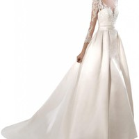 Gorgeous Bridal Tulle Lace Bodice Elegant Long Satin Wedding Dresses