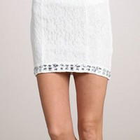 Rhinestone Lace Skirt-White