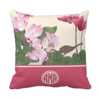 Vintage Pink Floral Art Circle Monogram Pillows