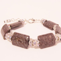 Brown Snowflake Jasper Anklet or Bracelet - with crystal rondelles, natural stones,