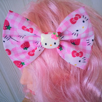Hair bow / Hello kitty hair bow / fabric hair bow / sanrio hair bow / pink and white gingham / girls hair bow / girls hair bow clip