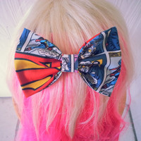 Superman hair Bow / Clark Kent / Man of Steel / DC comics hair bow / comic hair bow / superman fabric bow / superman hair accessory