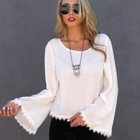 Crochet Trim Bell Shape Blouse