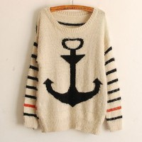 Womens Knitted Stripe Navy Anchor Casual Loose Outerwear Pullover Sweater Tops (black)