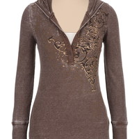 maurices premium embellished hooded thermal top