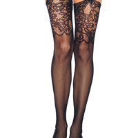 Socks by Sock Dreams » .Socks » Thigh Highs » Jacquard Lace Top Fishnet Stockings