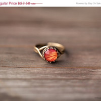 Orange Rose ring - Flower jewelry - Adjustable ring - Bloom collection by BeautySpot (R066)