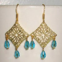 Beaded Filigree Chandelier Earrings with Turqoise Drop Beads