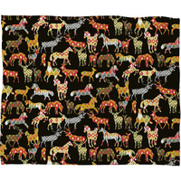 Sharon Turner Deer Horse Ikat Party Fleece Throw Blanket